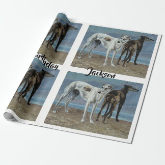 Two Greyhounds on the Beach Wrapping Paper