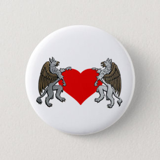 Two Griffins And A Heart 2 Inch Round Button