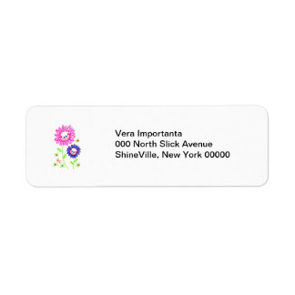 Two Grinning Happy Flowers Return Address Label
