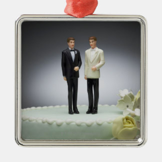 Two groom figurines on top of wedding cake Silver-Colored square ornament