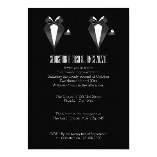 Two Grooms Bow Tie Tuxedo Wedding Card