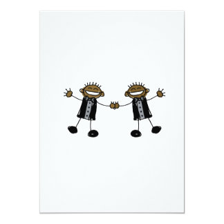 Two Grooms Dancing Happy Black 5x7 Paper Invitation Card