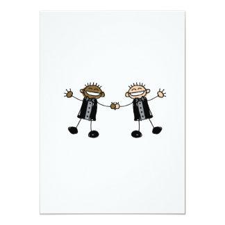 "Two Grooms Dancing Happy Interracial 5"" X 7"" Invitation Card"
