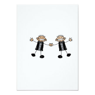 """Two Grooms Dancing Happy 5"""" X 7"""" Invitation Card"""