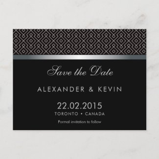 Two Grooms-Gay black pattern wedding Announcement Postcard