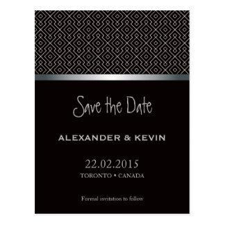 Two Grooms-Gay black pattern wedding | Postcard