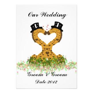 Two Grooms Giraffes Cute Gay Wedding Invitation