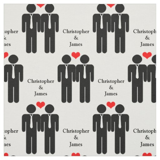Two Grooms In Ties Wedding Customizable Pattern Fabric