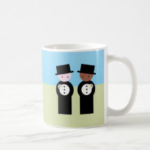 Two grooms one caucasian mugs