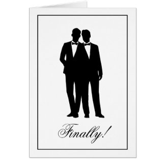 Two Grooms Silhouettes Congratulations Note Cards
