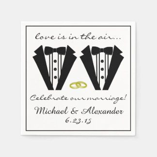 Two Grooms-Tuxedo Wedding Disposable Napkins