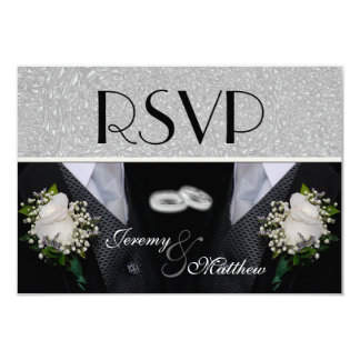 """Two Grooms Wedding Tuxes RSVP 3.5"""" X 5"""" Invitation Card"""