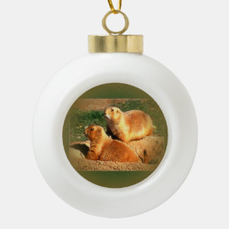 Two Groundhogs Coming Out On Groundhogs Day Ceramic Ball Christmas Ornament