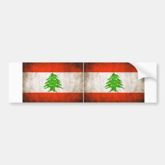 TWO Grungy Lebanon Flag Bumper Sticker