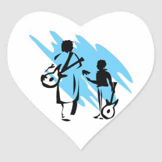 two guitar players outline musician blue png heart sticker