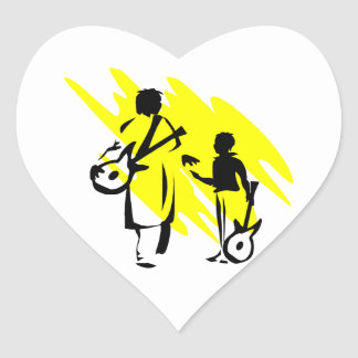 two guitar players outline musician yellow png heart sticker