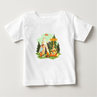 Two Guys Enjoying Camping In Forest. Cool Colorful Baby T-Shirt