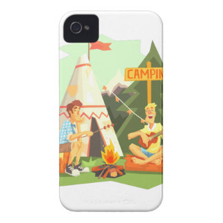 Two Guys Enjoying Camping In Forest. Cool Colorful Case-Mate iPhone 4 Cases