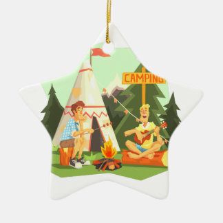 Two Guys Enjoying Camping In Forest. Cool Colorful Ceramic Ornament