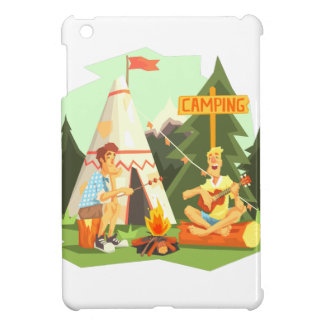Two Guys Enjoying Camping In Forest. Cool Colorful Cover For The iPad Mini