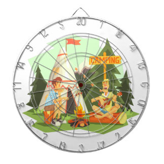 Two Guys Enjoying Camping In Forest. Cool Colorful Dartboard