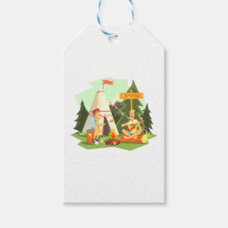 Two Guys Enjoying Camping In Forest. Cool Colorful Gift Tags