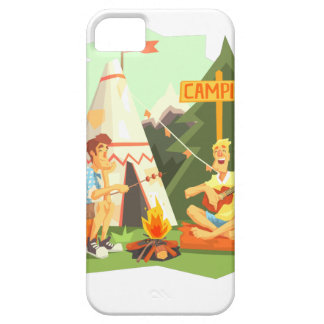 Two Guys Enjoying Camping In Forest. Cool Colorful iPhone 5 Case