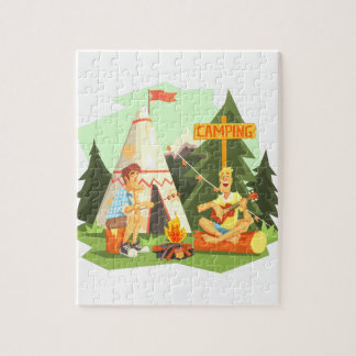 Two Guys Enjoying Camping In Forest. Cool Colorful Jigsaw Puzzle
