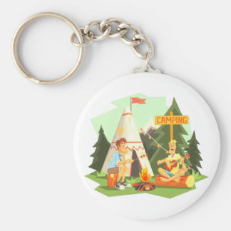 Two Guys Enjoying Camping In Forest. Cool Colorful Keychain