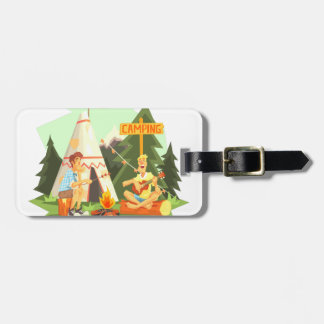 Two Guys Enjoying Camping In Forest. Cool Colorful Luggage Tag