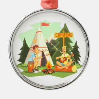Two Guys Enjoying Camping In Forest. Cool Colorful Metal Ornament