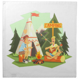 Two Guys Enjoying Camping In Forest. Cool Colorful Napkin