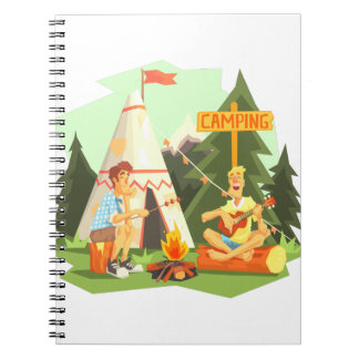 Two Guys Enjoying Camping In Forest. Cool Colorful Notebooks