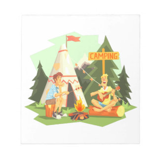 Two Guys Enjoying Camping In Forest. Cool Colorful Notepad