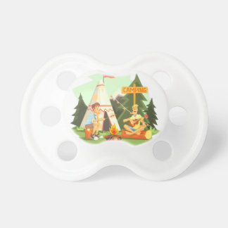 Two Guys Enjoying Camping In Forest. Cool Colorful Pacifier