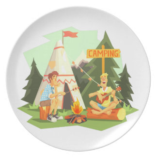 Two Guys Enjoying Camping In Forest. Cool Colorful Plate