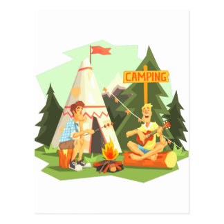 Two Guys Enjoying Camping In Forest. Cool Colorful Postcard