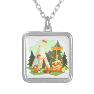 Two Guys Enjoying Camping In Forest. Cool Colorful Silver Plated Necklace
