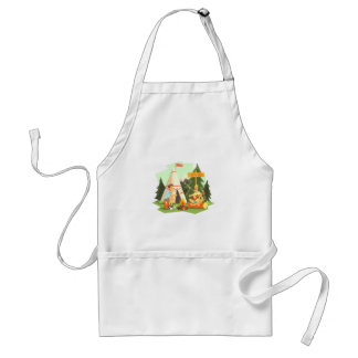 Two Guys Enjoying Camping In Forest. Cool Colorful Standard Apron