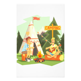 Two Guys Enjoying Camping In Forest. Cool Colorful Stationery