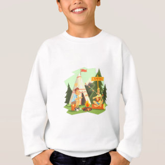 Two Guys Enjoying Camping In Forest. Cool Colorful Sweatshirt