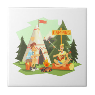 Two Guys Enjoying Camping In Forest. Cool Colorful Tile
