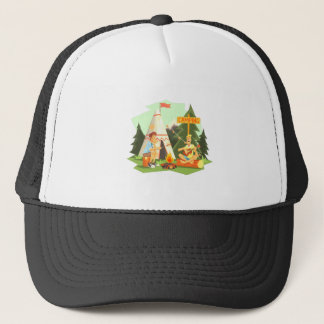 Two Guys Enjoying Camping In Forest. Cool Colorful Trucker Hat