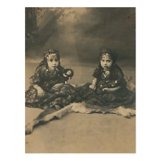 Two gypsy children post card
