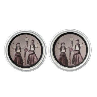 Two Gypsy Girls and Tamborines Cufflinks
