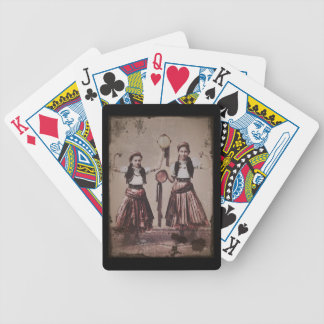 Two Gypsy Girls with Tamborines Bicycle Playing Cards