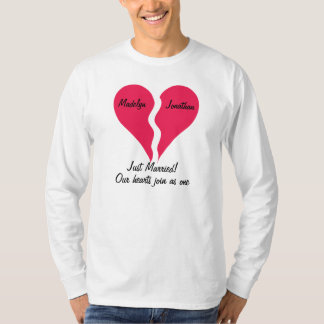 Two Halves Hearts Join as One Just Married T-Shirt