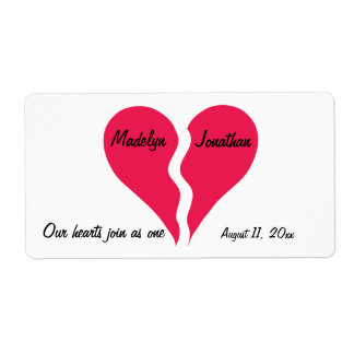 Two Halves Hearts Join as One Name Personalized Shipping Label