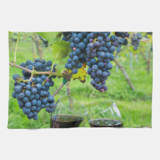 Two hands toasting with red wine near blue grapes kitchen towels