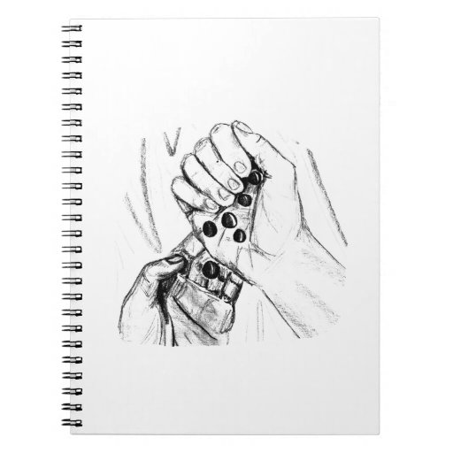 Two Hands with Marbles Pouring Pencil Sketch Note Book